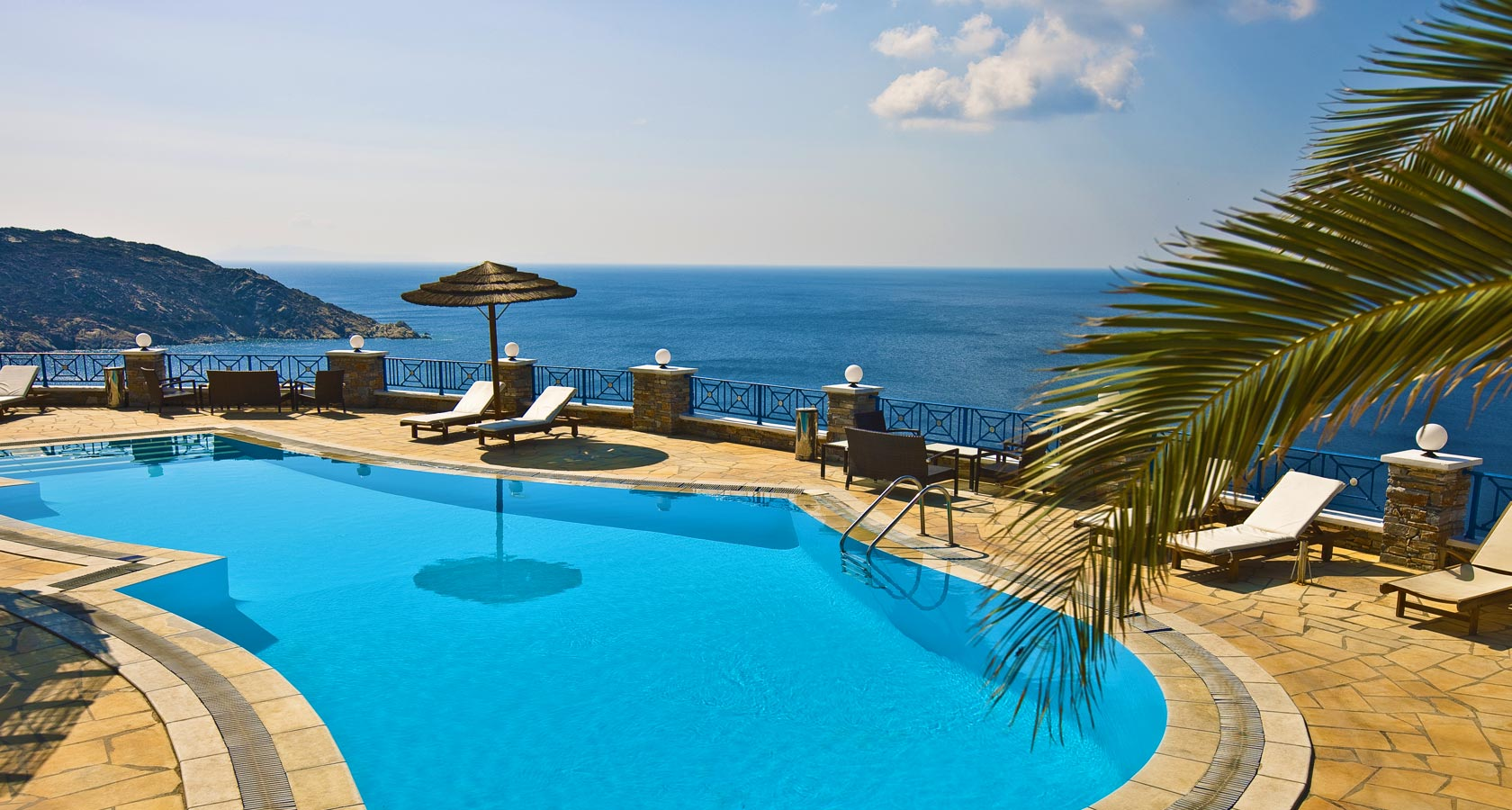 The Pool and Sea View of Hermes Hotel in Ios island Greece